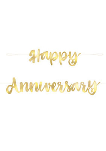 Letter banner Happy Anniversary - Goud - 1.82mtr