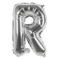 Folieballon R zilver - lucht gevuld - 36 cm