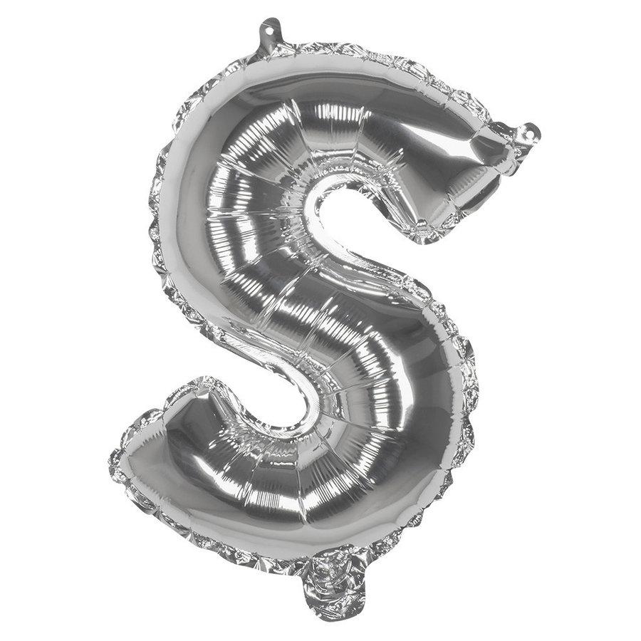 Folieballon S zilver - lucht gevuld - 36 cm-1