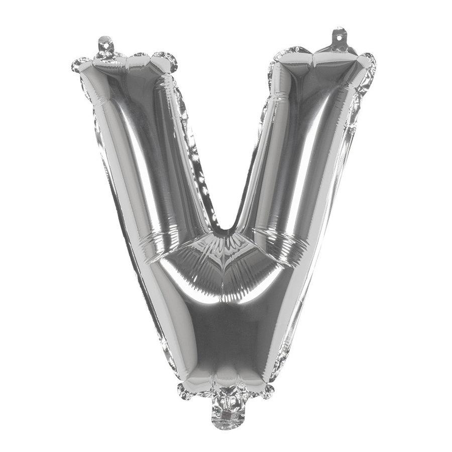 Folieballon V zilver - lucht gevuld - 36 cm-1