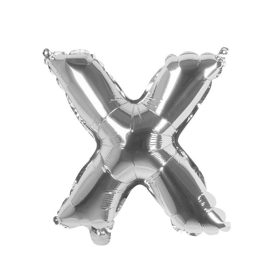 Folieballon X zilver - lucht gevuld - 36 cm-1