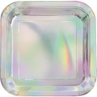 Sparkling Iridescent Bordjes - 8 stuks - 18 cm