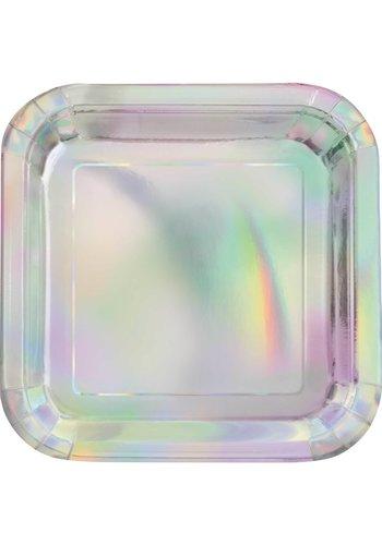 Sparkling Iridescent Bordjes - 8 stuks - 23 cm