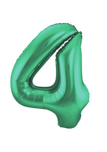 Folieballon 4 Mat Groen - 92cm