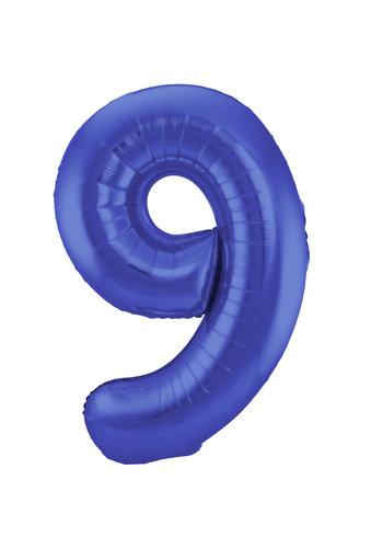 Folieballon 9 Mat Blauw - 92cm