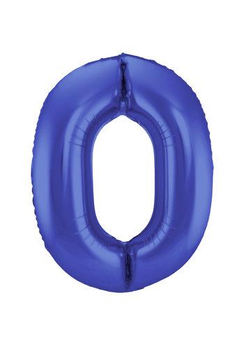 Folieballon 0 Mat Blauw - 92cm