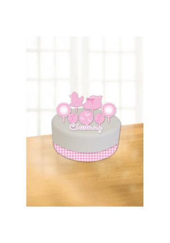 Communie Taart Decoratie - Roze