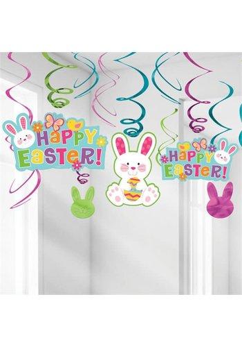 Happy Easter Swirl Deco - 12 st - 60cm