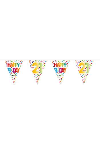 Vlaggenlijn Happy Birthday Dots 21 - 10 meter