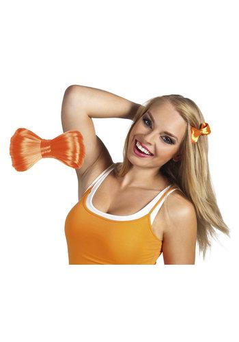 Haarstrikje oranje op speld