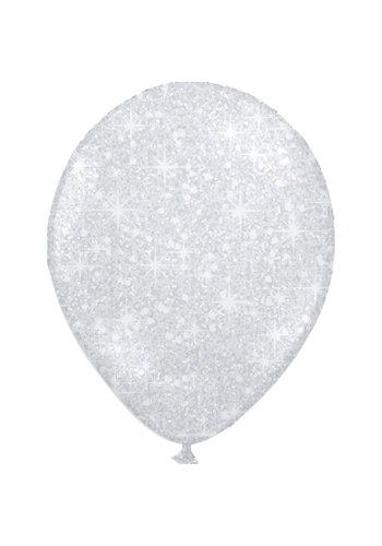 "Heliumballon Glitter Zilver - 11"" (28cm)"