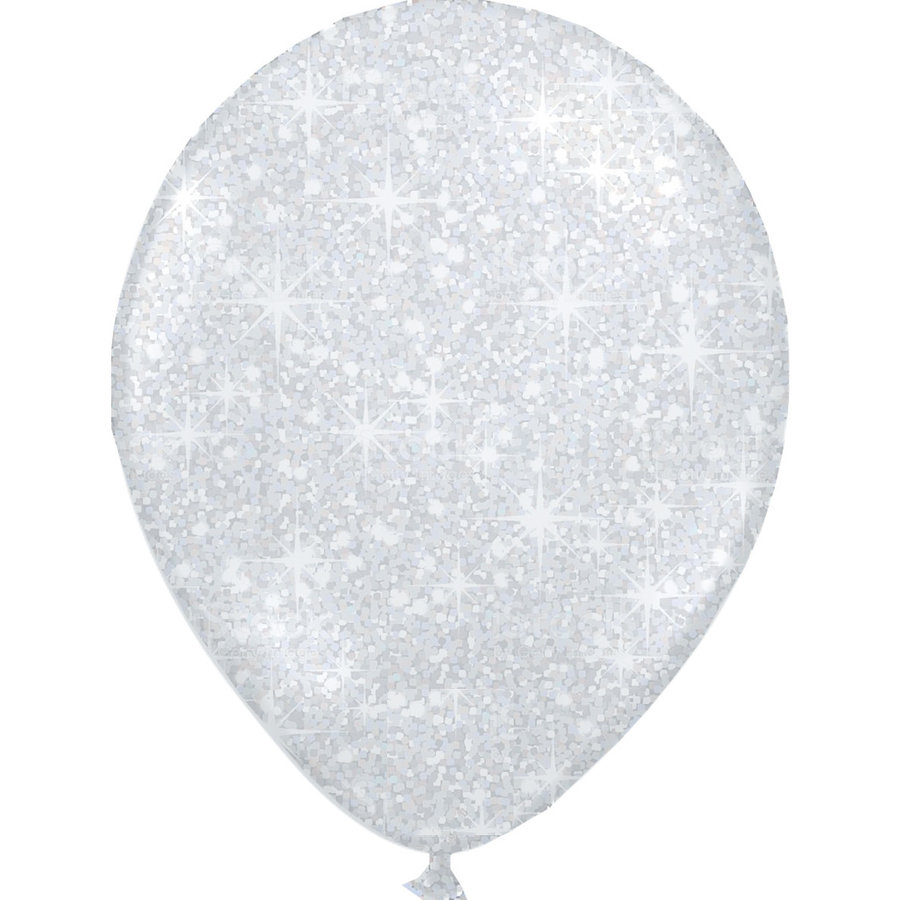 "Heliumballon Glitter Zilver - 11"" (28cm)-1"