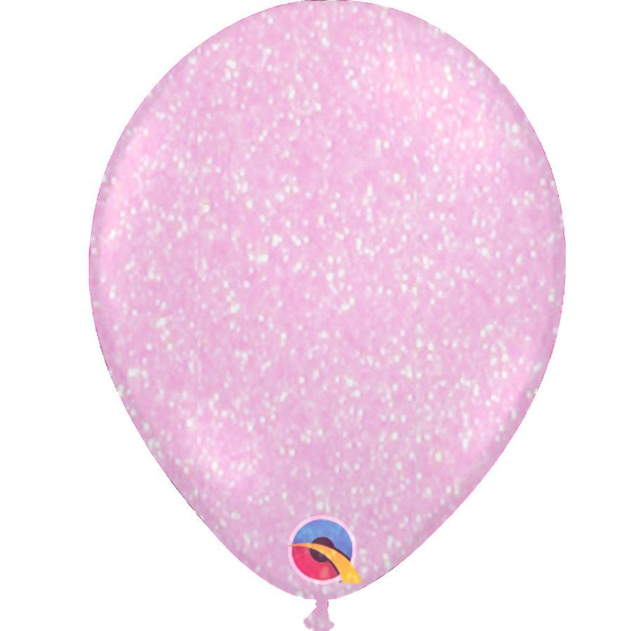 "Heliumballon Glitter Roze - 11"" (28cm)-1"