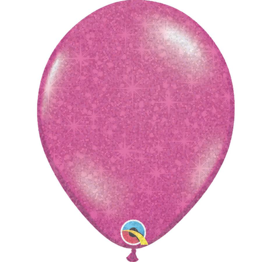 "Heliumballon Magenta met Glitter - 11"" (28cm)-1"