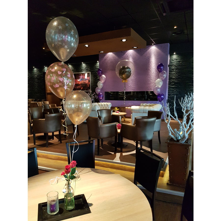 "Heliumballon Magenta met Glitter - 11"" (28cm)-4"