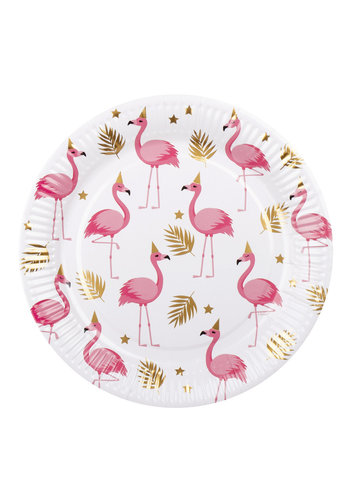 Bordjes Flamingo - 23cm - 6 stuks