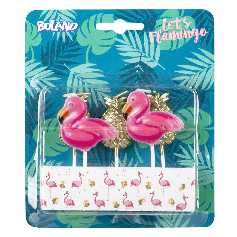 Kaarsjes Flamingo/ananas - 5 stuks-1