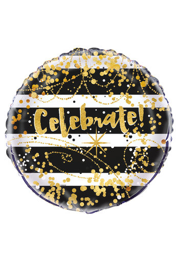 "Folieballon Black & Gold ""Celebrate"" - 45cm"