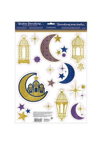 Raamstickers Eid Glitter - 15 stuks