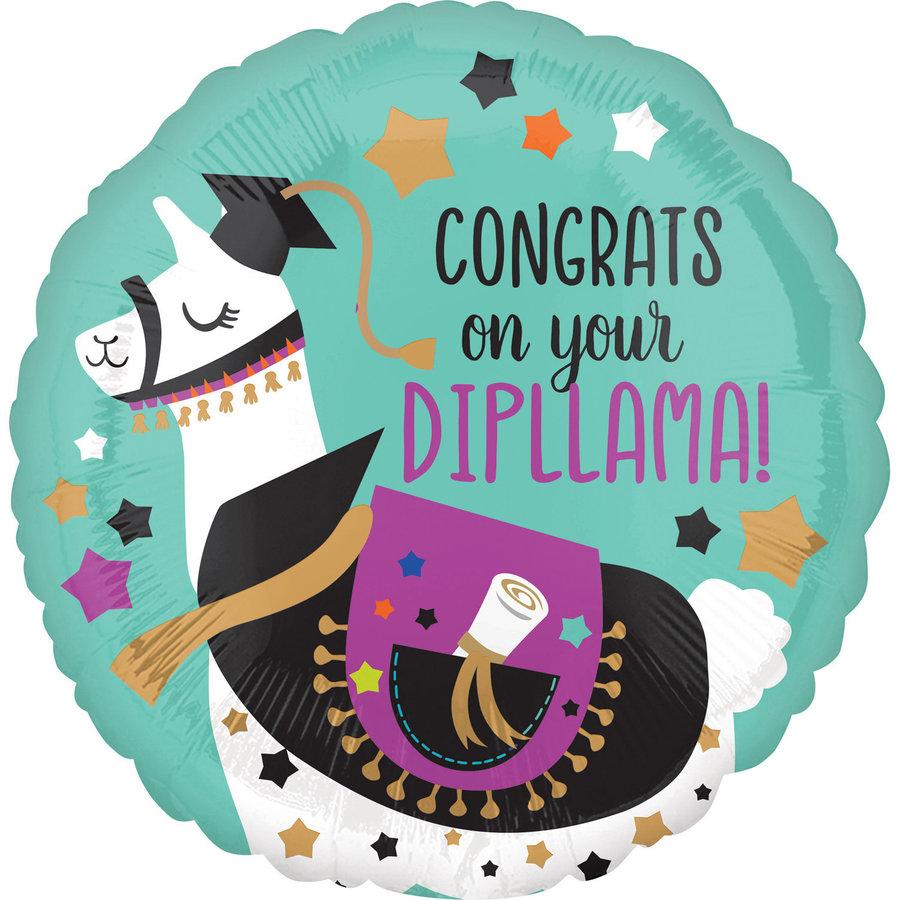 Folieballon Congrats On Your Dipllama - 45cm-1