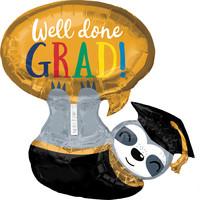 Folieballon Luiaard Well Done Grads