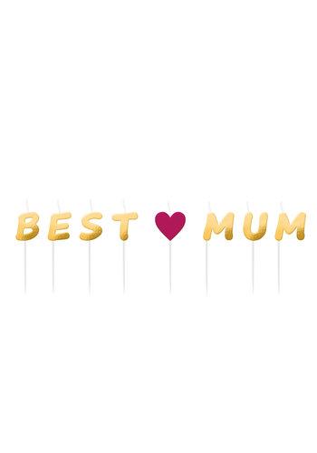 "Mini Kaarsjes ""Best Mum"" - 8 stuks"