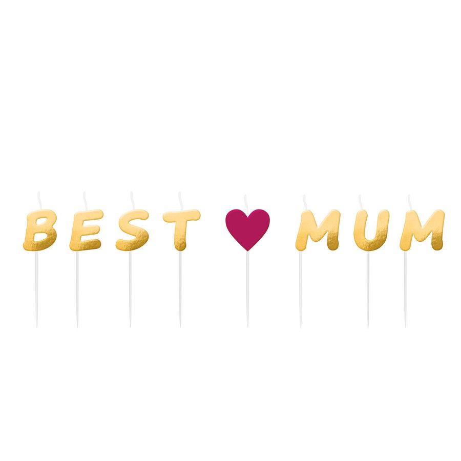 "Mini Kaarsjes ""Best Mum"" - 8 stuks-1"