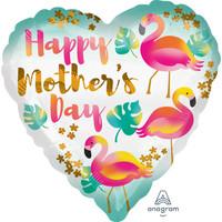 Folieballon Happy Mother's Day Flamingo's - 45cm