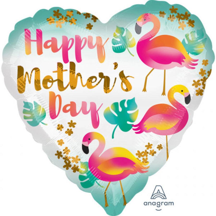 Folieballon Happy Mother's Day Flamingo's - 45cm-1