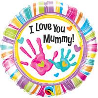 Folieballon I Love you Mummy handprint - 45cm
