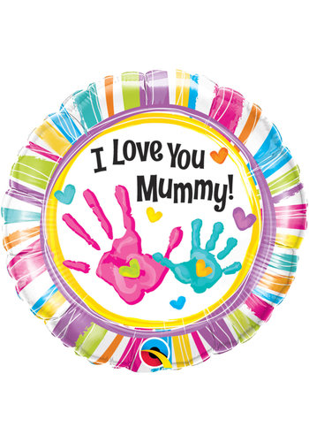 Folieballon I Love you Mummy handprint - 45cm