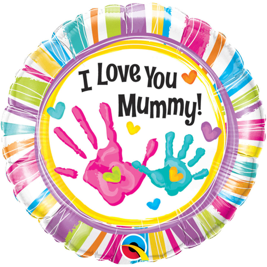 Folieballon I Love you Mummy handprint - 45cm-1