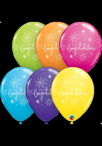 """11"""" Tropical Congratulations - 6 kleuren (28cm)"""
