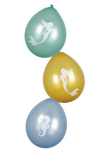 Mermaid ballonnen - 6 stuks