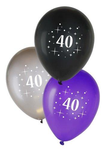 Ballonnen 40 jaar - metallic zwart/zilver/paars - 12inch - 6st