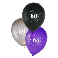 Ballonnen 60 jaar - metallic zwart/zilver/paars