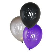 Ballonnen 70 jaar - metallic zwart/zilver/paars