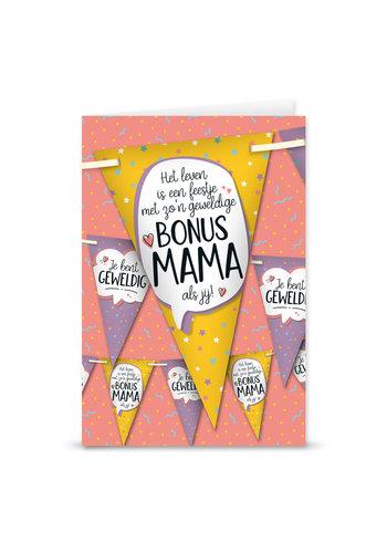 Wenskaart Met Vlaggenlijn- Bonus Mama