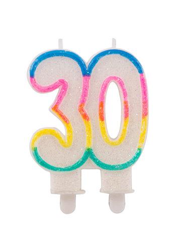 Cijferkaarsje 30 met glitter