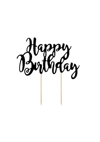 Cake topper Zwart - Happy Birthday -  22.5cm