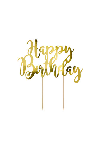 Cake topper Goud - Happy Birthday -  22.5cm