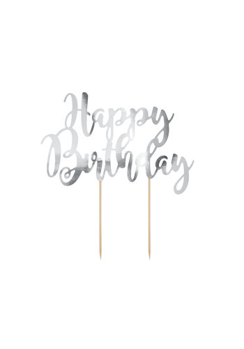 Cake topper Zilver - Happy Birthday -  22.5cm