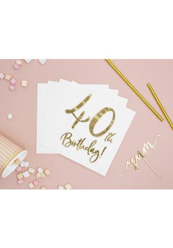 Servetten 40th Birthday - 33x33cm - 20 stuks