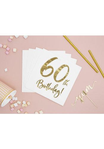 Servetten 60th Birthday - 33x33cm - 20 stuks