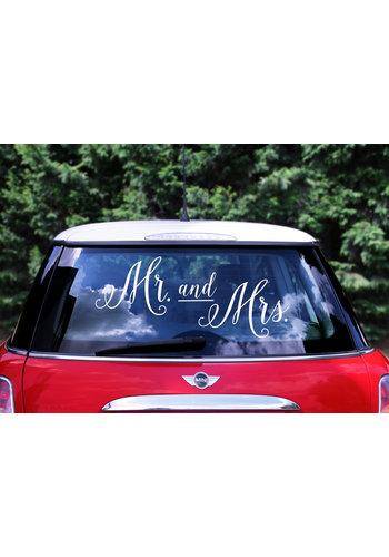 Auto Sticker Trouwen - Mr & Mrs