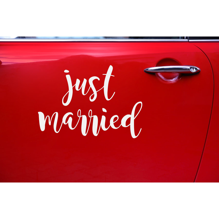Auto Sticker Trouwen - Just Married-3