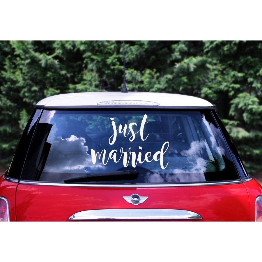 Auto Sticker Trouwen - Just Married-1