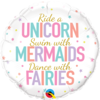 Folieballon Unicorn, Mermaids & Fairies - 45 cm