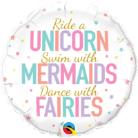 Folieballon Unicorn, Mermaids & Fairies