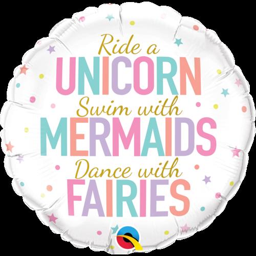 Folieballon Unicorn, Mermaids & Fairies - 45 cm